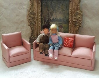 Pink Sofa Chair, Miniature Muffin Dollhouse Furniture, Mini Couch Club Chair, 1:12 Scale Living Room Seating, Diorama, Set of 2, ~ REDUCED