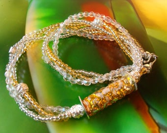 MURANO GLASBEAD COLLIER Silberfoil Toho beads gold Greek ceramic beads