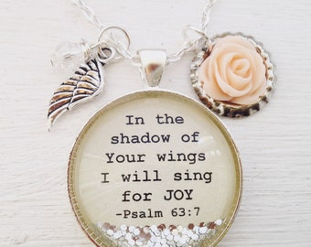 Christian jewelry, Psalm 63:7 necklace, In the shadow of your wings I will sing for JOY, bible verse necklace, scripture necklace,