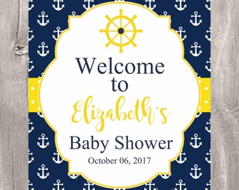 Nautical baby shower welcome sign, printable navy and yellow nautical baby shower personalized sign, baby boy welcome sign