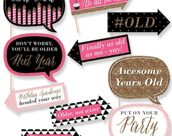 Funny Chic Happy Birthday - Pink, Black and Gold - Photo Booth Props - Happy Birthday Party Photo Booth Prop Kit - 10 Photo Props & Dowels