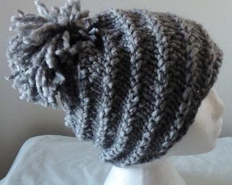 Spiral Loose Pom Pom Hat