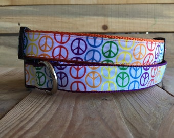 "Peace Sign Dog Collar, Rainbow Dog Collar, Orange Peace Sign Dog Collar, Purple Peace Sign Dog Collar, Quick Release Buckle, 1"" width"