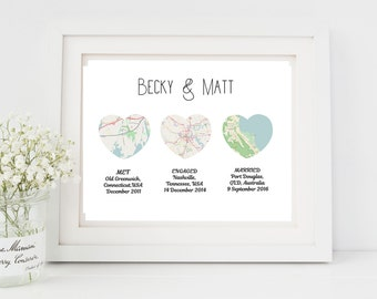 Digital customised heart map print, Map heart art, Downloadable Personalised wedding gift with map, download map wedding gift, Heart print