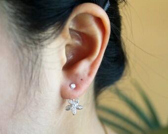 Handmade Silver Jacket Earrings Stud Flower Design