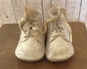 Vintage Leather Baby Shoes, Penney's Baby Shoes, Baby Shoes, Movie Props, Assemblage,