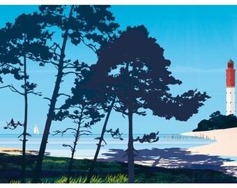 Poster illustrated pines Cap Ferret Bordeaux