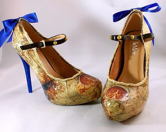 Vintage World Maps Custom Rhinestone Heels/ Wedding/ Prom/ Party/ Cosplay