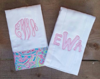 Burp Cloths for Baby Girl Personalized Monogrammed 6 ply Baby Shower Gift