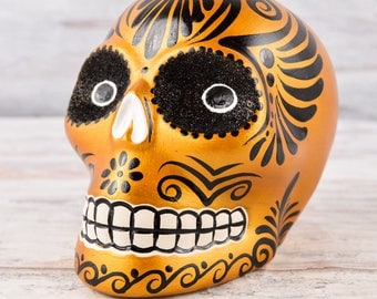 D101 Clay Skull Day of the Death Oaxacan Wood Carving Painting Handcrafted Folk