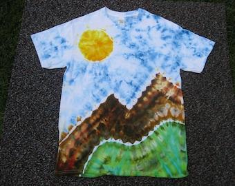 Earth Day shirt, tie dye shirt, mountain art, Rocky Mountains