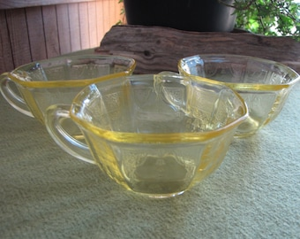 Yellow Depression Glass Cups Princess Topaz 1931 to 1935 Anchor Hocking Set of Three (3) Vintage Coffee Cups