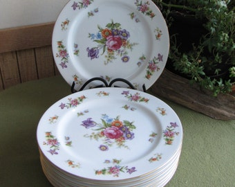 Dresdania Salad Plates Harmony House Set of Seven (7) 1954 Sears and Roebuck & Co. Mid Century Vintage Dinnerware Fine China and Dining