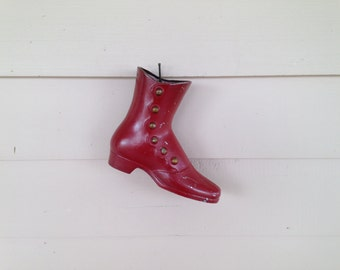 Vintage Aluminum Wall Vase, Red Painted Victorian Style Shoe, Wall Pocket