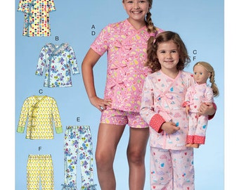 """McCall's Sewing Pattern M7497 Children's/Girls' Wrap Tops with Ties, Shorts and Pants; Top and Pants for 18"""" Doll"""