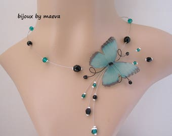 Costume Jewelry Butterfly Necklace and Emerald Green and Black Beads