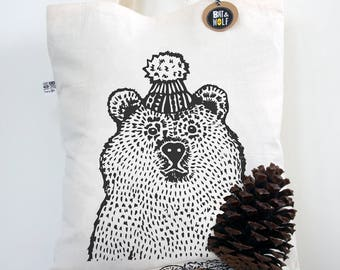 Screen Printed Bear In A Hat Tote Bag