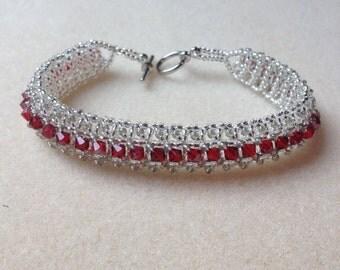 Beaded Swarovski Crystal Bracelet-Scarlet and Grey-8 in.
