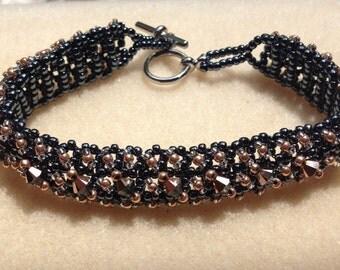 Beaded Swarovski Crystal Bracelet-Steel Grey/Rose Gold-8 in.