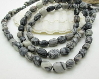 Black Patterned Zebra Jasper Nugget Beads, Black Stone Bead, 10-12x6-7mm (1 strand)