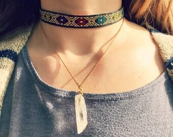 Golden Ribbon and Quartz Choker Necklace Duo