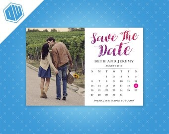 Personalized Printable Save-The-Date for your wedding | Calendar | DIY Printable File | Faux Glitter Text