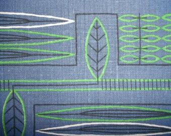 Vintage Swedish Placemat,  Table Cloth, Sagittaria, linen, blue, design K.H., 50s