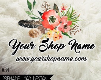 34. Premade Business Logo Boutique Digital File 300dpi PNG file, personalized with your shop name