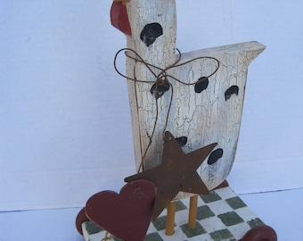 French County Farmhouse Wood Rooster Cut Out Decor