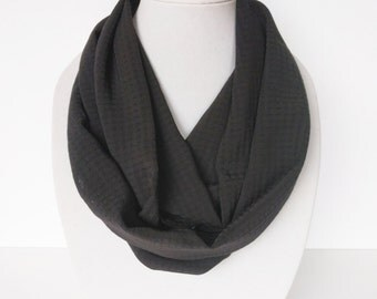 Black Infinity Scarf, Light Weight Black Scarves