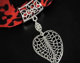 Scarf jewelry etsy silver tone scarf ring filigree leaf scarf jewellery slider pendant scarf pendant mozeypictures Choice Image