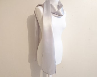 Long scarf silver grey satin 200/22 cm wedding/party/christening/cocktail/Christmas/holiday season