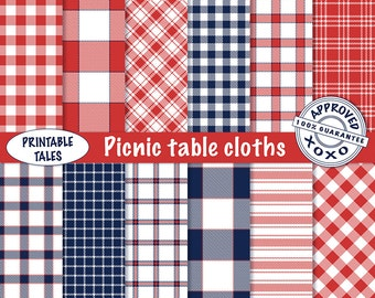 Picnic Table Cloths Digital Papers   Plaids Check Stripes Fabric Texture    Gingham Paper   Blue Checkered Pattern   Red Striped Table Cloth
