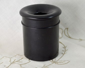 Antique Real Ebony Wooden Lidded Pot Hair Tidy Black Wood Cylinder Shape with Hole in The Centre of The Lid Made England  1920s