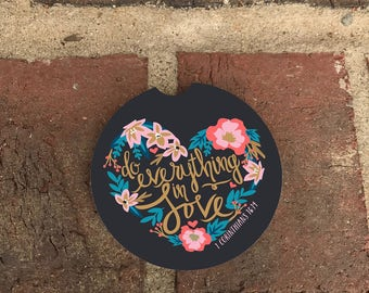 Custom 1st Corinthians/Love Yourself Car Coaster/ Absorbent Stone car coasters/recliner coasters (set of 2)