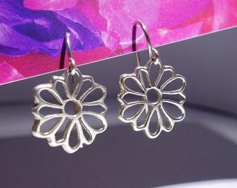 """Silver Daisy Earrings, Pretty Petite Sterling Silver 1"""" Dangle Drop Earrings, Cheerful Spring Flowers, Ear Hooks"""