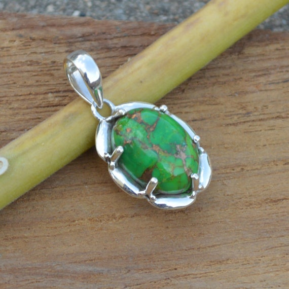 Green Copper Turquoise Pandant,  Turquoise Pandant,  Unique Gift Pandant Jewelry,  Sterling Silver Necklace