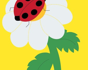 Ladybug Handcrafted Applique House Flag