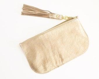 SALE Gold leather clutch - date night clutch - gold purse