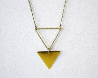 Brass Triangle Necklace / Geometric Necklace / Long Bohemian Necklace / Double Triangle / Warrior Necklace / Unisex Triangle Necklace