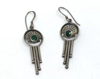 BoHo green malachite sterling silver earrings