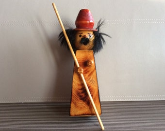 Half of Vintage Wooden Incense Smoker Men Germany Hat Figurine Pipe man Xmas