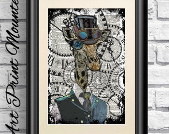 Steampunk Giraffe Print, Dictionary Book Page Print Animal, Hipster Animal. Mounted Poster artwork, Steam punk Goggles