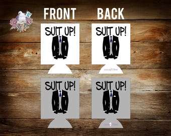 stock suit up groomsman suit it up can coolers / custom wedding party gifts / groomsmen gifts / usher gifts / best man gifts