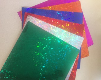 """12"""" x 12"""" Sheets of Holographic Crystal Vinyl  - ships within 24 hours!  LOTS of colors to choose!"""