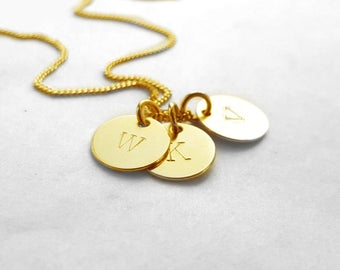Three Letters Necklace, Custom Alphabet Necklace, Gold Plated Hand Stamped Disc Charm, Three Initials, Personalized Jewelry