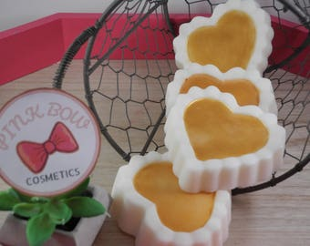 Unscented Gentle Goats Milk Soap with Mica Rub-Heart of Gold