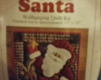 Rachel's of Greenfield  Santa Wallhanging Quilt Quilt Kit   13 by  15 inch finished size  Santa and Reindeer with a star