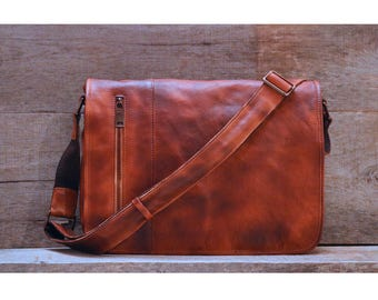 Men's Distressed Full Grain Leather Messenger Bag, Leather Bag, Cross Body Bag, Briefcase (68023BROWN)
