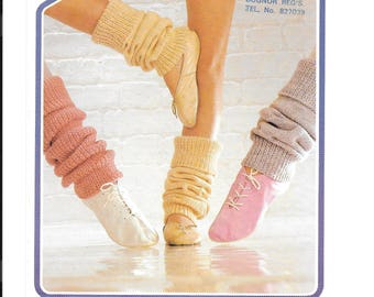 Old vintage knitting pattern for leg warmers in three sizes - ideal for ballet PDF download